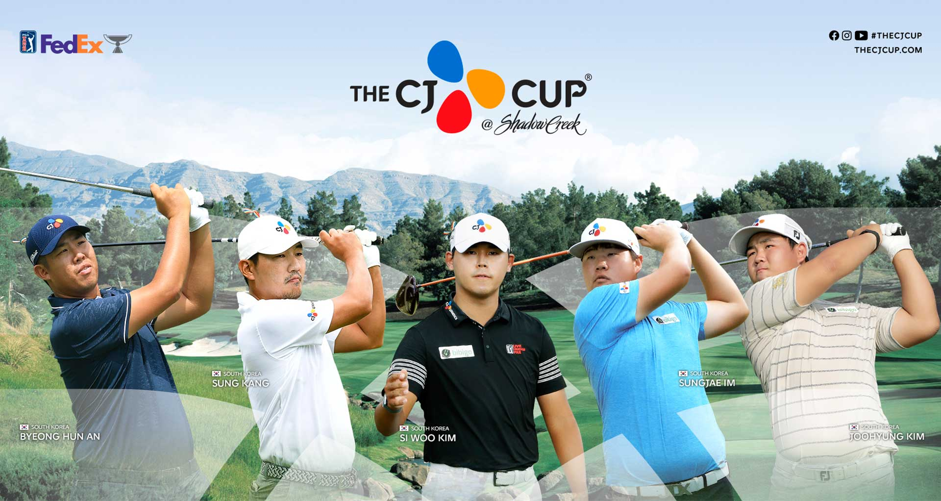 the cj cup SHADOW CREEK UNITED STATES DUSTIN JOHNSON/ SPAIN JON RAHN/ WNITED STATES JUSTIN THOMAS/ NORTHERN IRELAND RORY MCILROY/ UNITED STATES BRYSON DECHAMBEAU