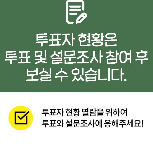 투표자 현황은 투표 및 설문조사 참여 후 보실 수 있습니다.