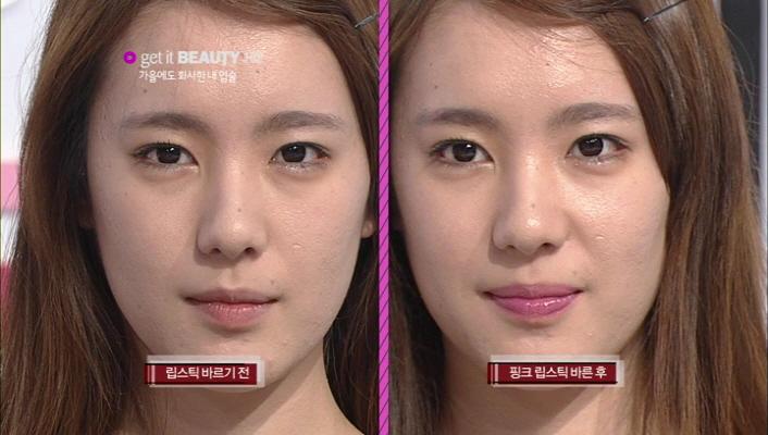2) 따뜻한 핑크 컬러를 입으니 안색이 확~ 살아난 모습이예요.