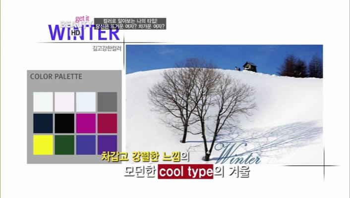 차갑고 강렬한 느낌의 모던한, 시원한 타입의 겨울 Color!