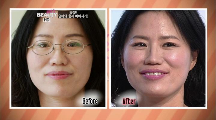 입술까지 핑크빛으로 발라주니 완성! before와 비교해 보니 더 확실한 변화! 어머니의 눈썹과아이 메이크업이 특히 아름다우시네요^^