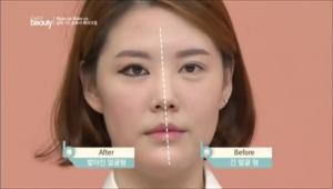 언더라인과 섀딩 효과로 메이크업 전후를 비교했을 때 얼굴이 짧아 보여요.
