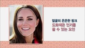 케이트 미들턴의 경우 얼굴에 은은한 핑크빛이 도는데요, <BR>핑크빛 도화색은 인기를 끌 수 있는 요인이라고 해요.