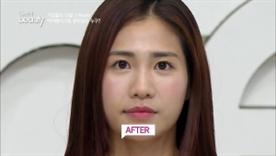 투명한 체리 컬러로 촉촉한 입술을 표현해주면 동안 메이크업 완성!
