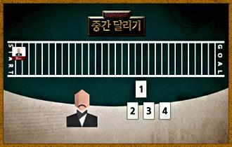 6. 이동카드는 1~4까지의 숫자로 이루어져 있으며 자신의 이동순서에 1장을 제출하여 해당 숫자만큼 이동한다.