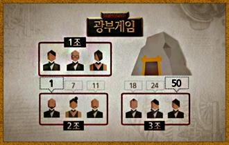 4. 승점은 최하 1점부터 최고 50점까지 제시할 수 있다.  플레이어들이 제시한 승점은 광부가 된 조의 광물캐기가 끝나면 공개된다.