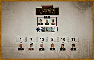 12. 광물 캐기가 종료되면 다른 플레이어들이  제시한 승점이 공개되며, 6명이 제시한 승점의 합에 따라 광물의 총 승점을 나눠 갖게 된다.