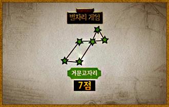 2-4. 거문고자리. 초록색별 6개로 완성할 수 있으며 완성할 경우 승점 7점을 획득한다.
