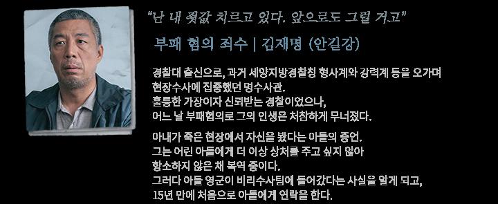 부패 혐의 죄수, 김재명(안길강) / 경찰대 출신으로 과거 세양지방경찰청의 명수사관이었다. 아내가 죽은 현장에서 자신을 봤다는 증언을 한 아들 영군에게 15년 만에 연락한다.