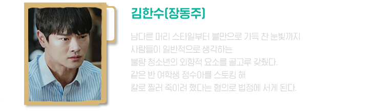 김한수(살인사건 용의자) / 같은 반 여학생 정수아를 스토킹 해 칼로 찔러 죽이려 했다는 혐의로 법정에 서게 된다.