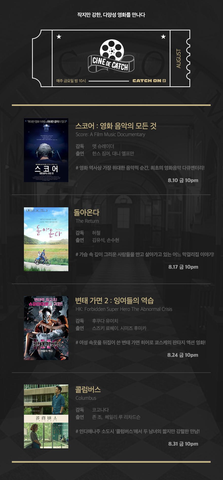 매주 금요일 밤 10시 CATCH ON2 2 JULY 작지만 강한, 다양성 영화를 만나다